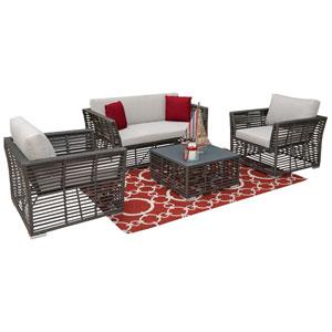 Intech Grey Outdoor Living Sets with Sunbrella Cabana Regatta cushion, 4 Piece