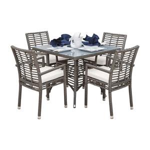 Intech Grey Outdoor Dining Set with Sunbrella Cabaret Blue Haze cushion, 5 Piece