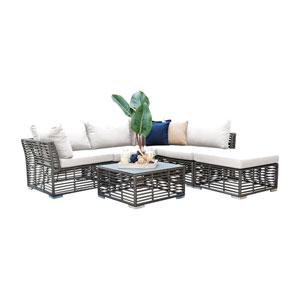 Intech Grey Outdoor Sectional Sunbrella Canvas Cushion, 6 Piece