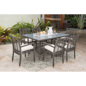 Intech Grey Outdoor Dining Set with Sunbrella Canvas Coal cushion, 7 Piece
