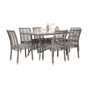 Intech Grey Outdoor Dining Set with Sunbrella Dimone Sequoia cushion, 7 Piece