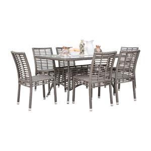 Intech Grey Outdoor Dining Set with Sunbrella Getaway Mist cushion, 7 Piece
