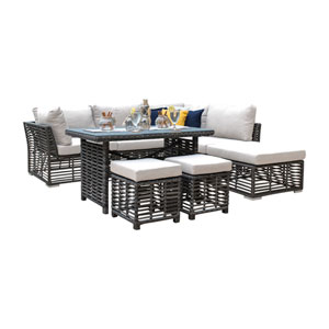 Intech Grey Outdoor High Ct Sectional with Sunbrella Passage Poppy cushion, 7 Piece