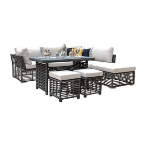 Intech Grey Outdoor High Ct Sectional with Sunbrella Canvas Lido Indigo cushion, 7 Piece