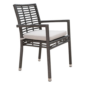 Intech Grey Outdoor Stackable Arm Chair with Sunbrella Dimone Sequoia cushion