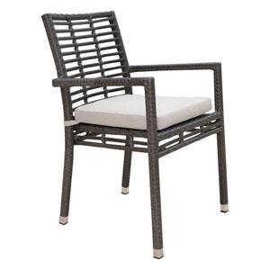 Intech Grey Outdoor Stackable Arm Chair with Sunbrella Getaway Mist cushion
