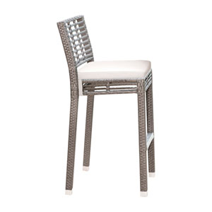 Intech Grey Stackable Outdoor Barstool with Sunbrella Cabaret Blue Haze cushion