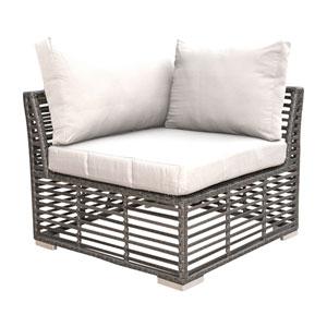 Intech Grey Outdoor Modular Corner Unit with Sunbrella Cabaret Blue Haze cushion