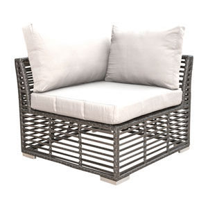 Intech Grey Outdoor Modular Corner Unit with Sunbrella Solana Seagull cushion