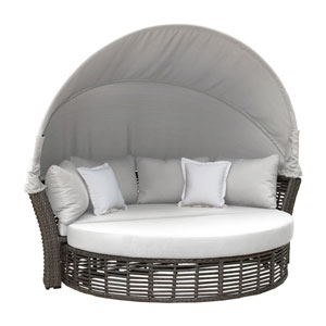 Intech Grey Outdoor Canopy Daybed with Sunbrella Linen Champagne cushion