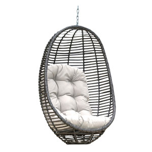 Intech Grey Outdoor Woven Hanging Chair with Sunbrella Linen Champagne cushion
