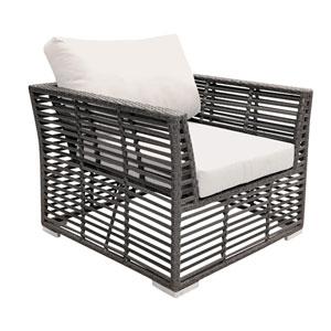 Intech Grey Outdoor Lounge chair with Sunbrella Canvas Vellum cushion