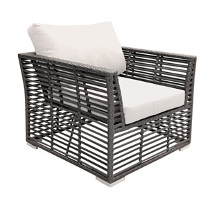 Intech Grey Outdoor Lounge chair with Sunbrella Passage Poppy cushion