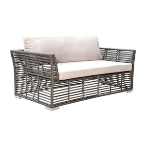 Intech Grey Outdoor Loveseat with Sunbrella Solana Seagull cushion