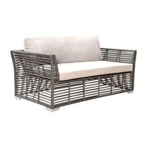White and Grey Outdoor Loveseat with Sunbrella Getaway Mist cushion