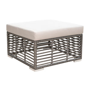 Intech Grey Outdoor Square Ottoman with Sunbrella Linen Champagne cushion