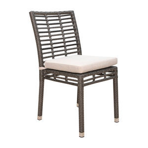 Intech Grey Outdoor Stackable Side Chair with Sunbrella Linen Champagne cushion