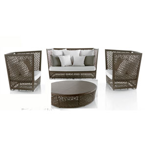 Bronze Grey Outdoor Seating Set Sunbrella Cabaret Blue Haze cushion, 4 Piece