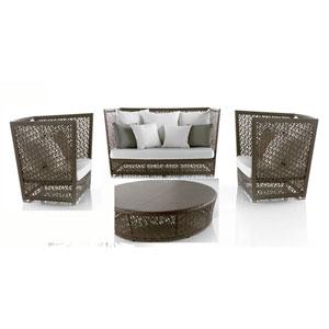 Bronze Grey Outdoor Seating Set Sunbrella Cast Coral cushion, 4 Piece
