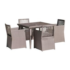 Bronze Grey Outdoor Woven Dining Set with Sunbrella Canvas Brick cushion, 5 Piece