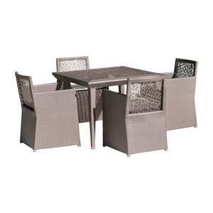 Bronze Grey Outdoor Woven Dining Set with Sunbrella Linen Champagne cushion, 5 Piece
