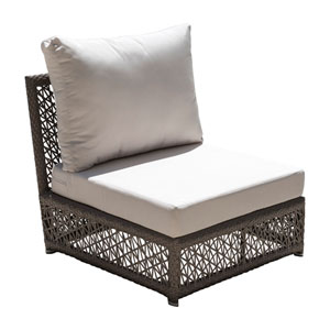 Bronze Grey Outdoor Modular Armless Unit with Sunbrella Canvas Vellum cushion