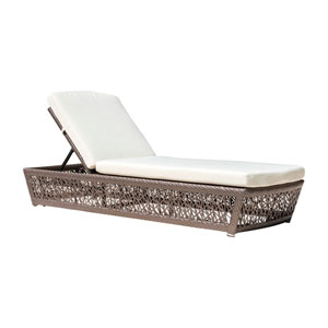 Bronze Grey Outdoor Chaise Lounger with Sunbrella Canvas Heather Beige cushion