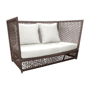 Bronze Grey Outdoor Loveseat with Sunbrella Linen Champagne cushion