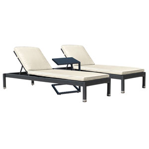 Onyx Black Outdoor Chaise Lounge Sets with Sunbrella Linen Champagne Cushion, 3 Piece