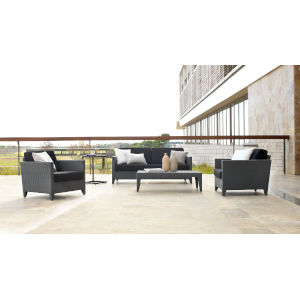 Onyx Canvas Jockey Red Four-Piece Outdoor Seating Set