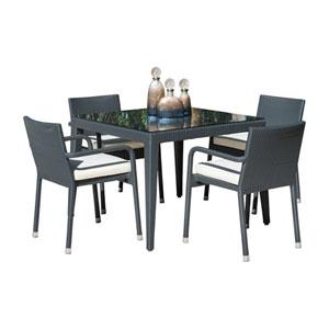 Onyx Black Outdoor Dining Set with Sunbrella Canvas Heather Beige cushion, 5 Piece