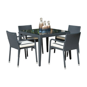 Onyx Black Outdoor Dining Set with Sunbrella Peyton Granite cushion, 5 Piece