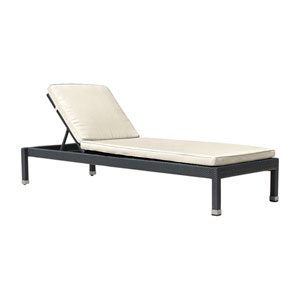 Onyx Black Chaise Lounge with Sunbrella Foster Metallic cushion