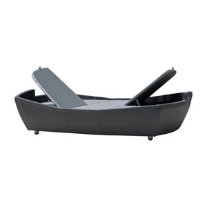 Onyx Black Double Folding Chaise Lounger
