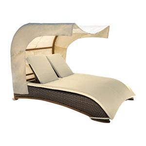 Big Sur Dark Brown Outdoor Canopy Daybed with Sunbrella Canvas Lido Indigo cushion