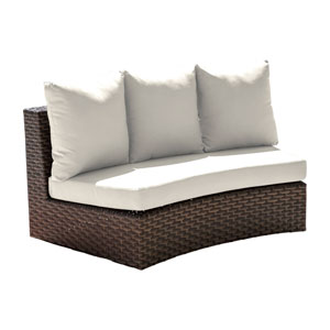 Big Sur Dark Brown Outdoor Curved Loveseat with Sunbrella Linen Champagne cushion