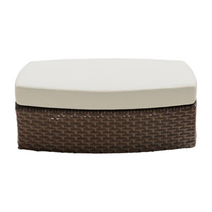 Big Sur Dark Brown Outdoor Ottoman with Sunbrella Linen Champagne cushion