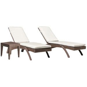 Oasis Java Brown Outdoor Chaise Lounge with Sunbrella Cabaret Blue Haze cushion, 3 Piece