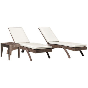 Oasis Java Brown Outdoor Chaise Lounge with Sunbrella Solana Seagull cushion, 3 Piece