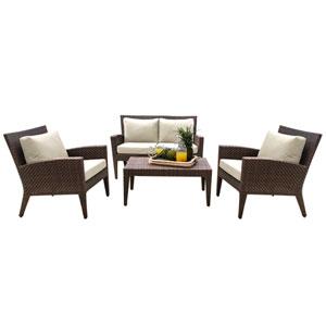 Oasis Java Brown Outdoor Seating Set Sunbrella Canvas Vellum cushion, 4 Piece