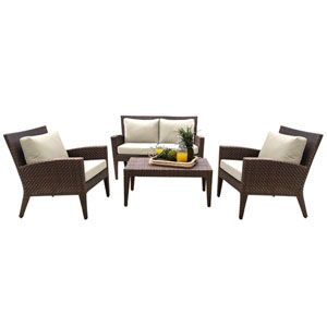 Oasis Java Brown Outdoor Seating Set Sunbrella Linen Champagne cushion, 4 Piece