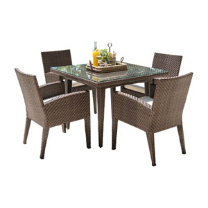Oasis Java Brown Outdoor Dining Set with Sunbrella Linen Silver cushion, 5 Piece