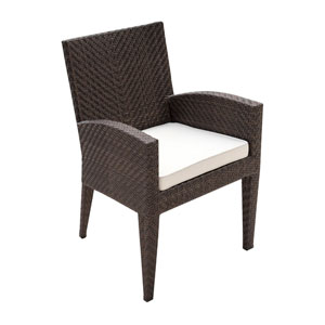 Oasis Java Brown Outdoor Dining Armchair with Sunbrella Linen Champagne cushion