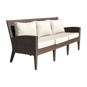Oasis Java Brown Outdoor Sofa with Sunbrella Canvas Heather Beige cushion