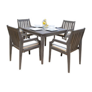 Poolside Canvas Melon Five-Piece Armchair Dining Set with Cushion