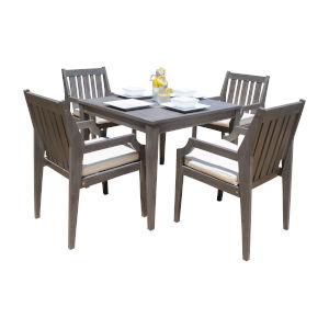 Poolside Canvas Aruba Five-Piece Armchair Dining Set with Cushion