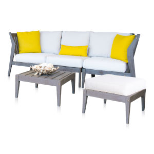 Poolside Canvas Brick Five-Piece Outdoor Sectional Set