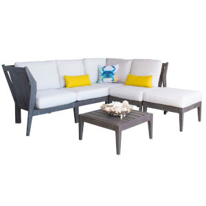Poolside Canvas Brick Six-Piece Outdoor Sectional Set