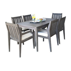 Poolside Canvas Melon Seven-Piece Armchair Dining Set with Cushion