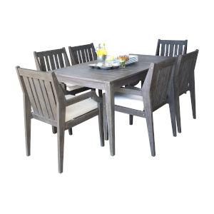 Poolside Canvas Aruba Seven-Piece Armchair Dining Set with Cushion